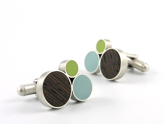 Node Cuff Links - Silver, Wood, & Resin Cuff Links - by Matthew Smith
