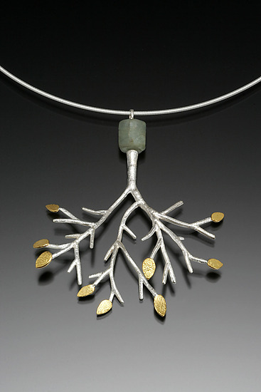 Tree Pendant with Aquamarine on Cable - Gold, Silver, & Stone Necklace - by Sarah Hood