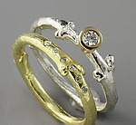 Gold, Silver, & Stone Wedding Bands by Sarah Hood