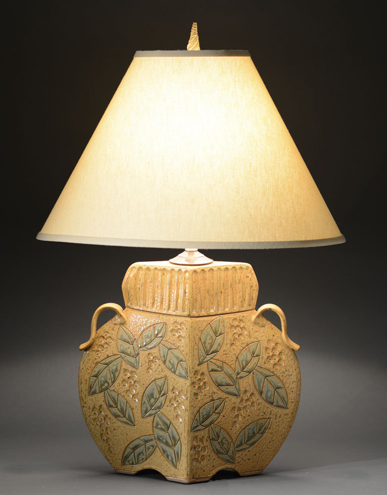 Arts and Crafts Lamp in Gold - Ceramic Table Lamp - by Jim and Shirl Parmentier