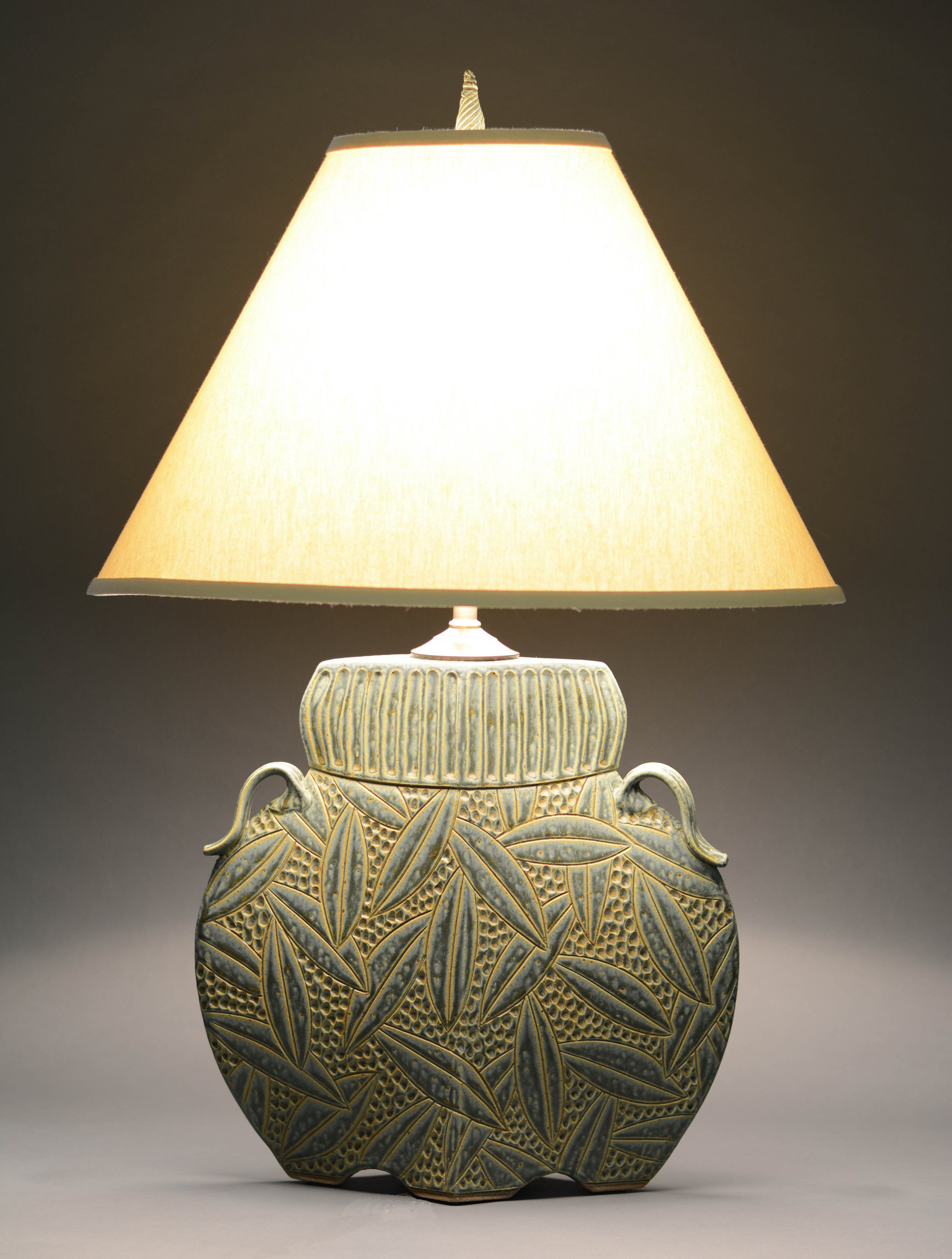 Arts and Crafts Lamp in Sage - Ceramic Table Lamp - by Jim and Shirl Parmentier