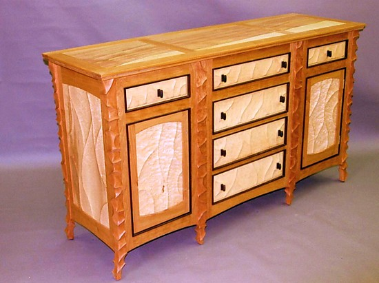 Carved Cherry and Maple Sideboard - Wood Sideboard - by John Wesley Williams
