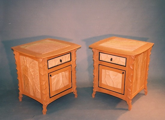 Carved Cherry Side Cabinet - Wood Cabinet - by John Wesley Williams