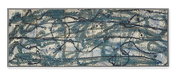 Blue, Silver & Black Wall Hanging - Ceramic Wall Art - by Kristi Sloniger