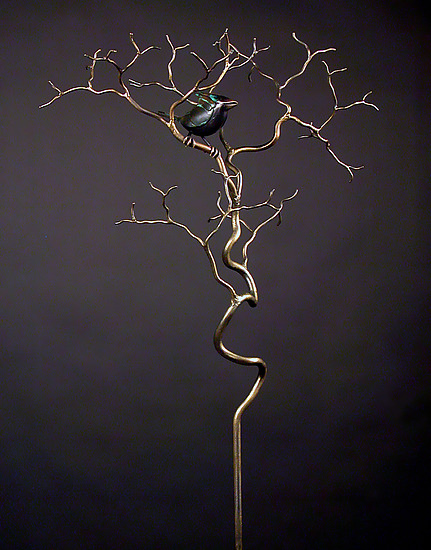Outdoor Organic with Bird 8 - Metal Sculpture - by Charles McBride White