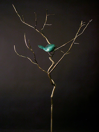 Outdoor Organic with Bird 14 - Metal Sculpture - by Charles McBride White