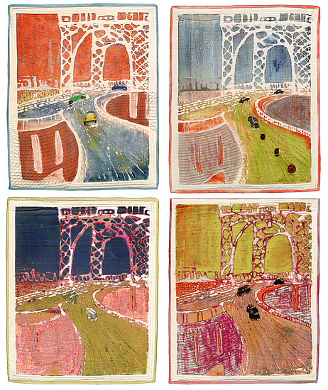 Triboro Quartet - Fiber Wall Art - by K. Velis Turan
