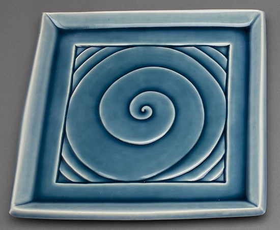 Blue Spiral Plate - Ceramic Plate - by Lynne Meade