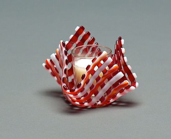 Glass Candleholder: Red Stripe - Art Glass Candleholder - by Ed Edwards