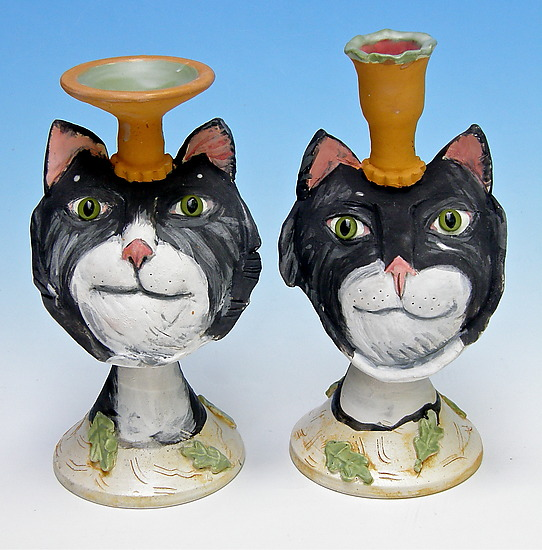 Tuxedo Cat Candelholders - Ceramic Candleholder - by Amy Goldstein-Rice