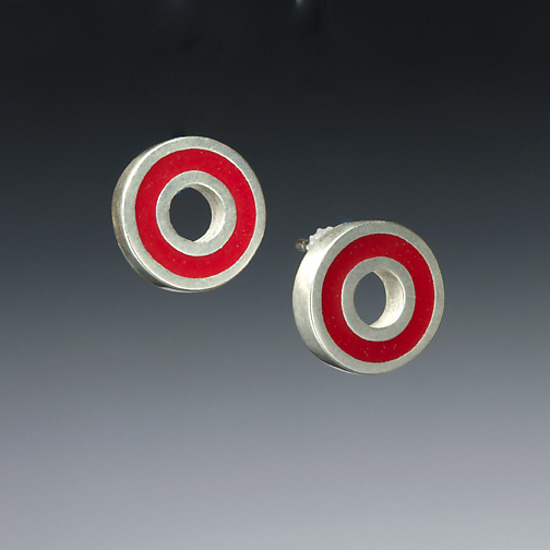 Circle Earrings - Silver & Resin Earrings - by Ben Neubauer