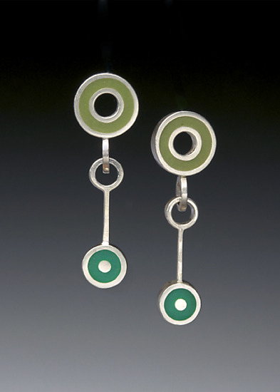 Triple Circle Earrings - Silver & Resin Earrings - by Ben Neubauer
