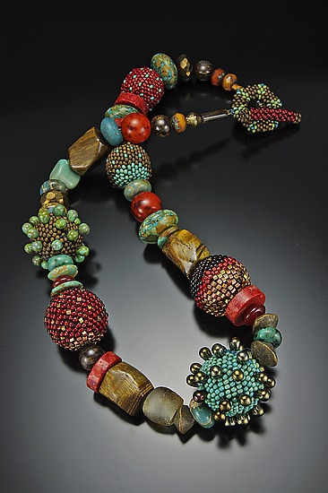 Carnelian Turquoise Bronze Necklace - Beaded Necklace - by Julie Powell