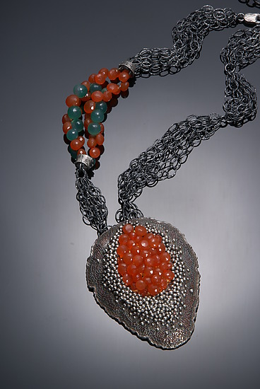 Red Aqua - Silver & Stone Necklace - by So Young Park