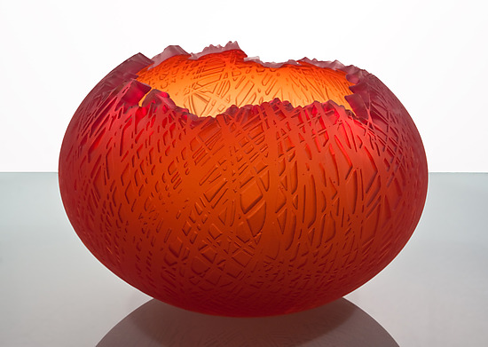 Red Bowl - Art Glass Bowl - by Nick Chase