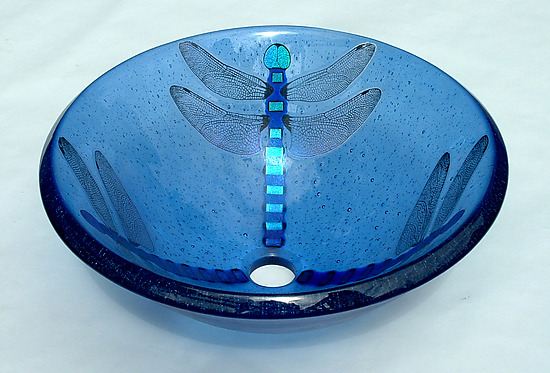 Dragonfly Vessel Sink - Art Glass Sink - by Mark Ditzler