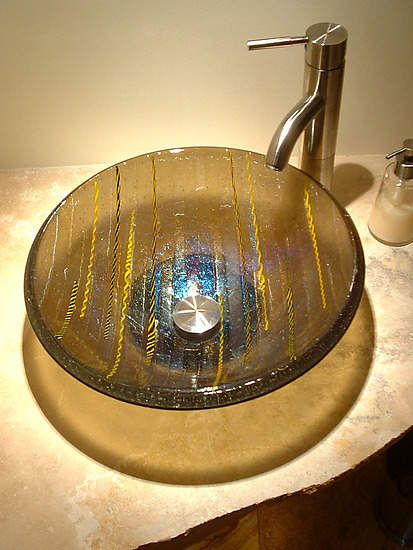 Bronze Vessel Sink - Art Glass Sink - by Mark Ditzler