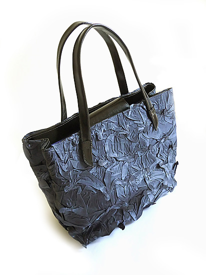 Toto Handbag in Shiny Navy Color - Polyester Handbag - by Yuh Okano