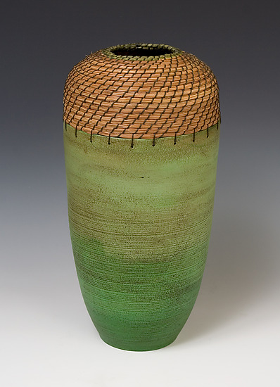 Cylinder Vessel in Greens - Ceramic Vessel - by Hannie Goldgewicht