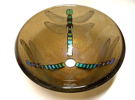 Dragonfly Vessel Sink on Bronze Glass - Art Glass Sink - by Mark Ditzler