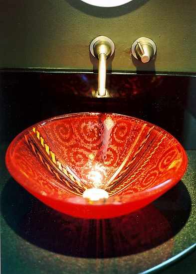 Red Venetian Vessel Sink - Art Glass Sink - by Mark Ditzler