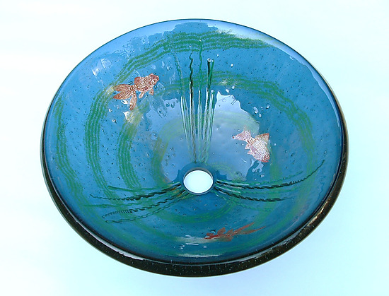 Goldfish Vessel Sink on Steel Blue Glass - Art Glass Sink - by Mark Ditzler