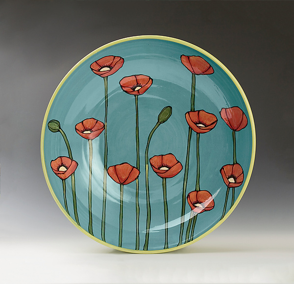 Large Poppy Bowl - Ceramic Bowl - by Lacey Goodrich