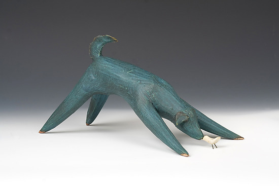 Blue Dog - Ceramic Sculpture - by Cathy Broski