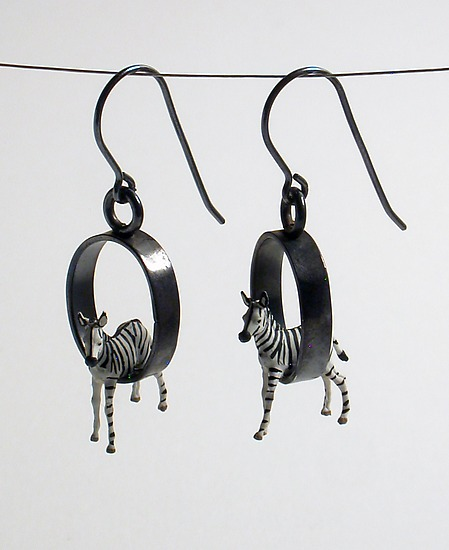 Baby Zebra Earrings - Silver Earrings - by Kristin Lora
