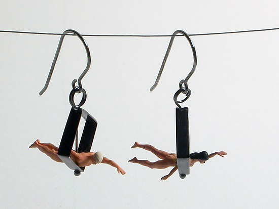 Swimmers in Diamond Shape Earrings - Silver Earrings - by Kristin Lora