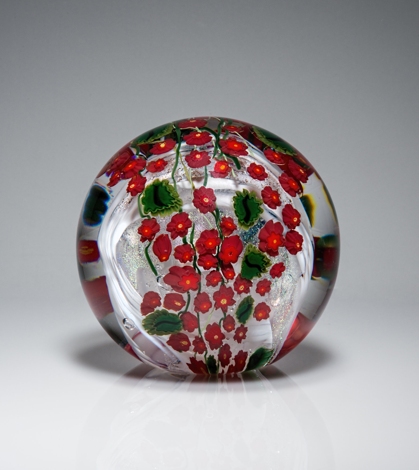 Poinsettia Paperweight - Art Glass Paperweight - by Shawn Messenger