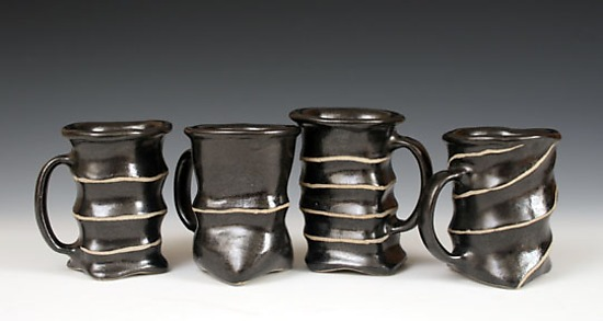 White-Lines Mugs - Ceramic Mug - by Larry Halvorsen