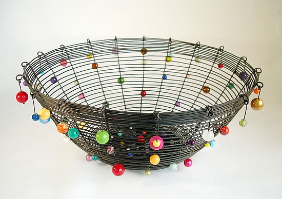 Medium Polka Basket, Colors - Metal Basket - by Sally Prangley