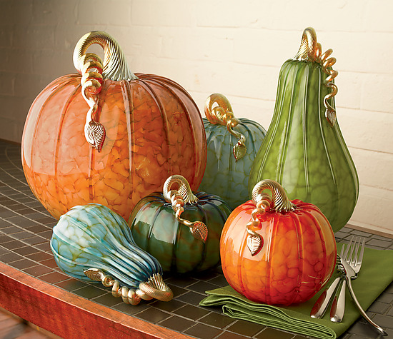 Metro Pumpkins and Squash - Art Glass Sculpture - by Michael Cohn and Molly Stone