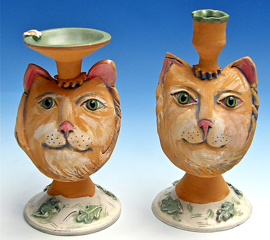 Yellow Tabby Candlesticks - Ceramic Candleholders - by Amy Goldstein-Rice