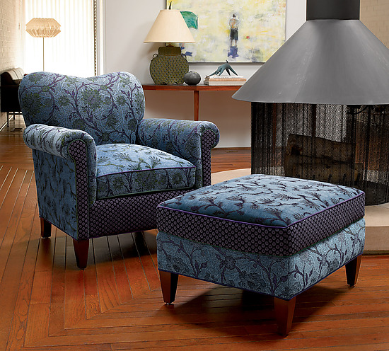 Molly Rose Chair in Lake - Upholstered Chair - by Mary Lynn O'Shea
