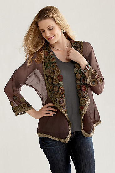 Rose Garden Jacket - Silk Jacket - by Deborah Murphy