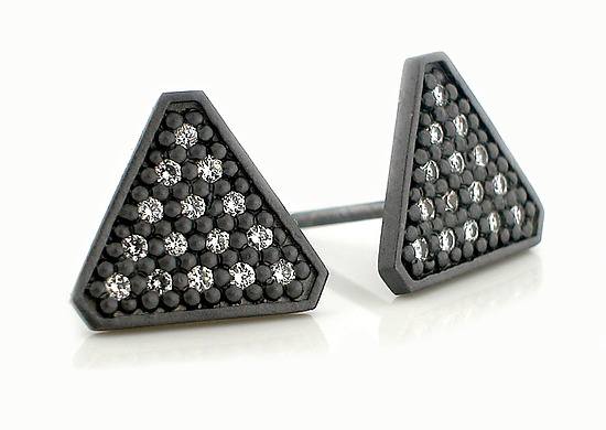 Tri Large Stud - Silver & Stone Earrings - by Catherine Iskiw
