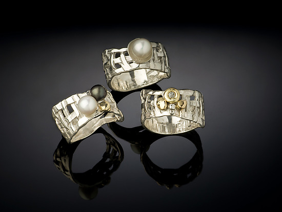 Woven Basket Rings, 3 Way - Silver & Pearl Ring - by Chi Cheng Lee