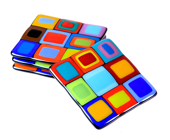 Carnival Coasters - Art Glass Coasters - by Helen Rudy