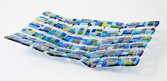 Retro Mesh Blue - Art Glass Sculpture - by Renato Foti