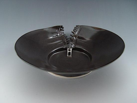 Zipper Platter in Charcoal - Ceramic Platter - by Lilach Lotan