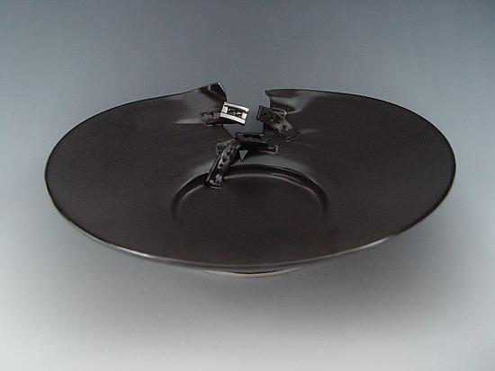 Buckle Platter in Charcoal - Ceramic Platter - by Lilach Lotan
