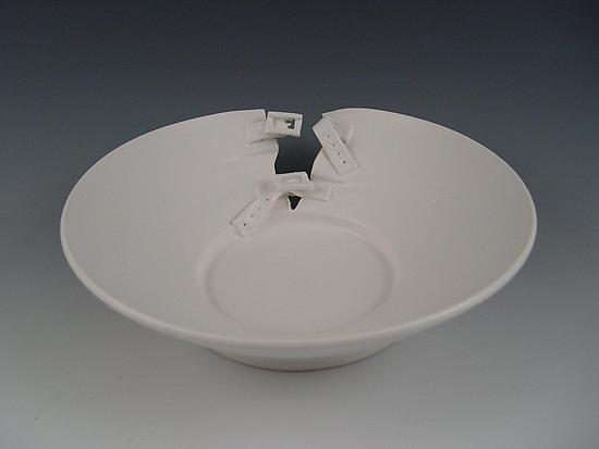 Buckle Platter in Silky White - Ceramic Platter - by Lilach Lotan