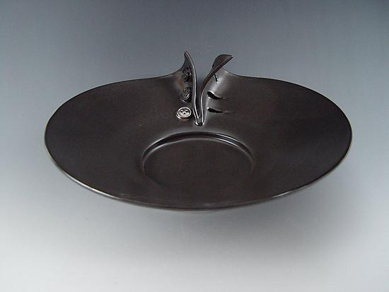 Buttons Platter in Charcoal - Ceramic Platter - by Lilach Lotan