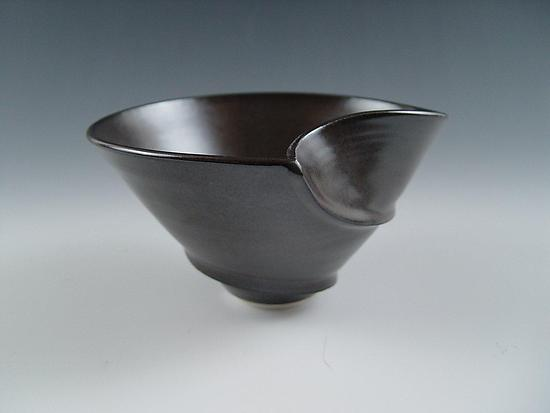 V Serving Bowl in Charcoal - Ceramic Bowl - by Lilach Lotan