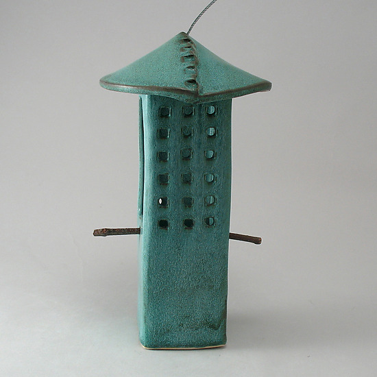 Weathered Bronze Porcelain Bird Feeder - Ceramic Bird Feeder - by Cheryl Wolff