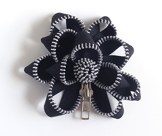 Black Zipper Pin - Zippered Brooch - by Kate Cusack