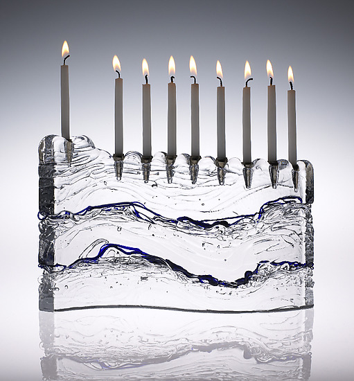Wave Menorah - Art Glass Menorah - by Joel and Candace Bless