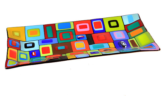 Carnival Platter - Art Glass Platter - by Helen Rudy